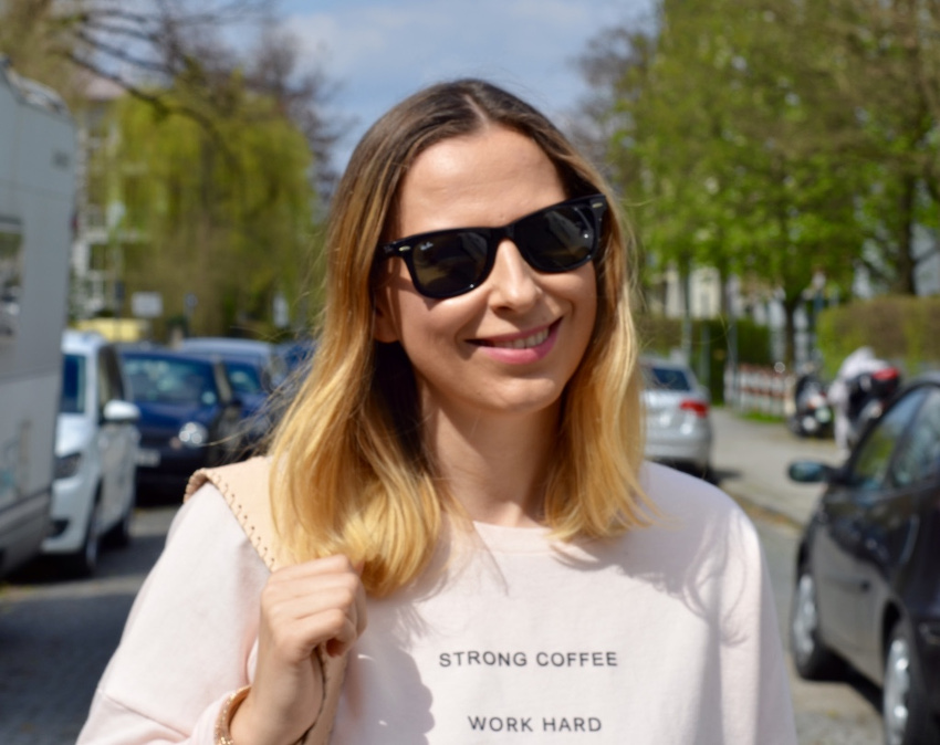 Strong Coffee, work hard, bershka shirt, ray ban wayfarer